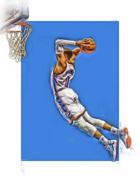 Nba Mixed Media - Russell Westbrook Oklahoma City Thunder Oil Art 3 by Joe Hamilton
