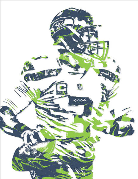 Super Bowl Mixed Media - Russell Wilson Seattle Seahawks Pixel Art 10 by Joe Hamilton