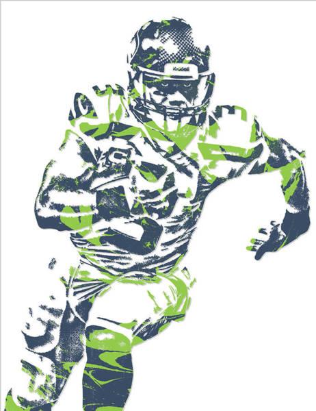 Wall Art - Mixed Media - Russell Wilson Seattle Seahawks Pixel Art 12 by Joe Hamilton