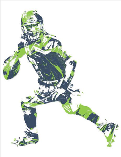 Wall Art - Mixed Media - Russell Wilson Seattle Seahawks Pixel Art 13 by Joe Hamilton
