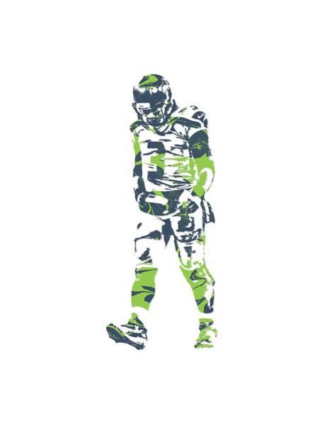Seattle Seahawks Wall Art - Mixed Media - Russell Wilson Seattle Seahawks Pixel Art T Shirt 1 by Joe Hamilton
