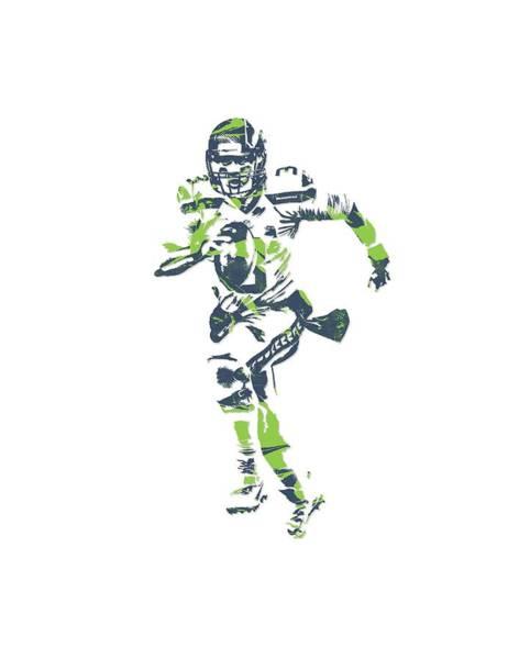 Wall Art - Mixed Media - Russell Wilson Seattle Seahawks Pixel Art T Shirt 2 by Joe Hamilton
