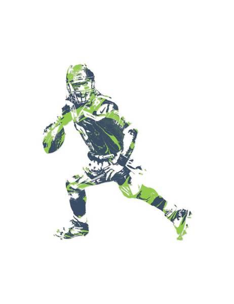 Wall Art - Mixed Media - Russell Wilson Seattle Seahawks Pixel Art T Shirt 3 by Joe Hamilton