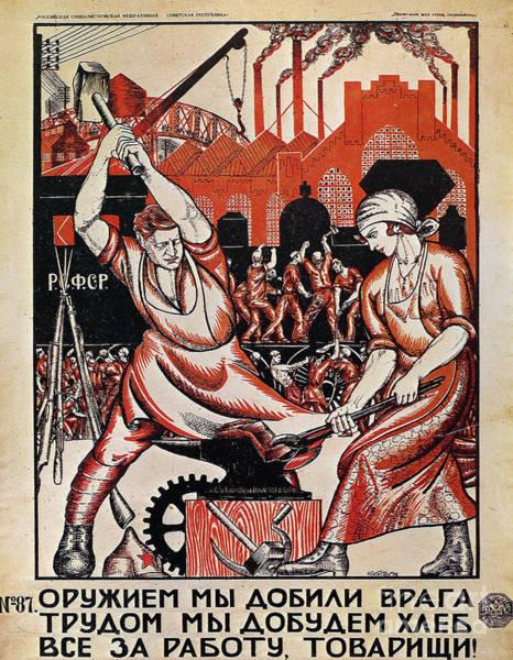 Photograph - Soviet Poster, 1920 by Nikolai Kogout