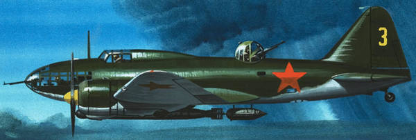Wall Art - Painting - Russian Aircraft Of World War Two  Russian Ilyushin Bomber by Wilf Hardy