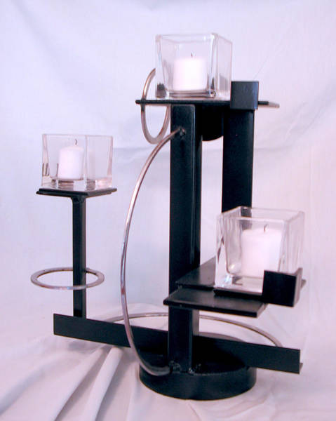 Sculpture - Russian Constructivist Candle Holder Second View by John Gibbs