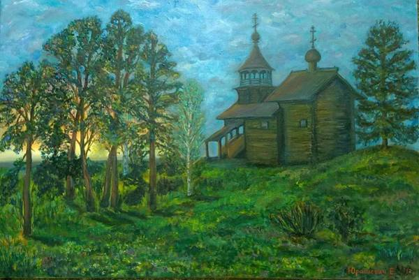 Russian Orthodox Church Painting - Russian Countryside Landscape With A Wooden Church Surrouded By Trees At A Sunset by Katia Iourashevich Ricci