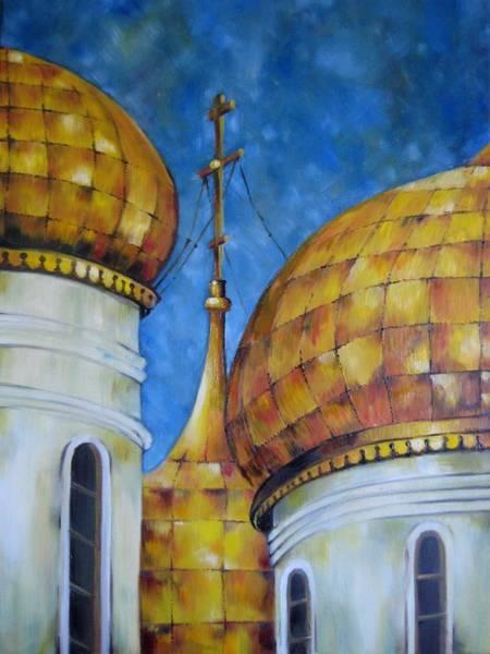 Russian Orthodox Church Painting - Russian Domes I by Alexanda Davidoff