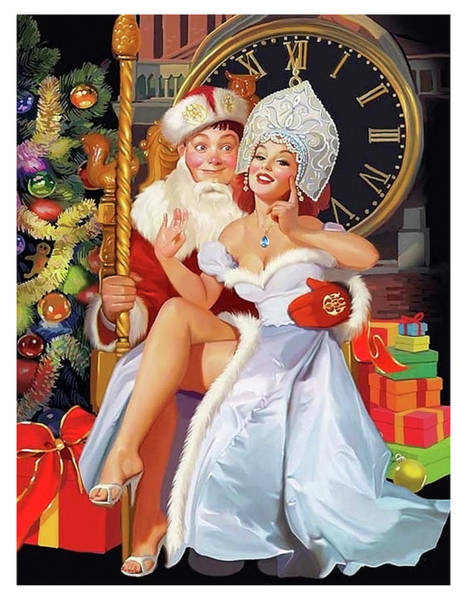 Wall Art - Painting - Russian Pin-up Girl Posing With Her Friend by Long Shot