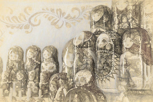 Photograph - Russian Puzzle Dolls In Pencil by John Williams