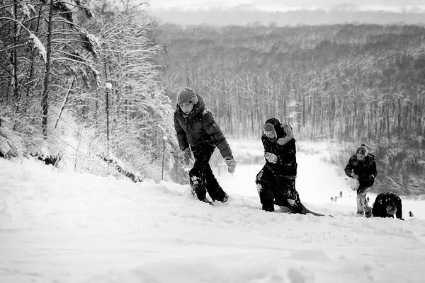 Photograph - Russian Teenagers Wild Snow Slide Winter Ride Downhill by John Williams