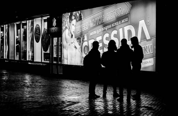 Photograph - Russian Teens At Night Outside A Shopping Center by John Williams
