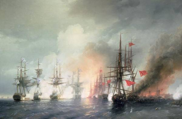 Sink Painting - Russian Turkish Sea Battle Of Sinop by Ivan Konstantinovich Aivazovsky