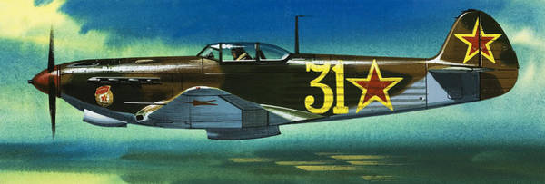 Wall Art - Painting - Russian Yakolev Fighter by Wilf Hardy