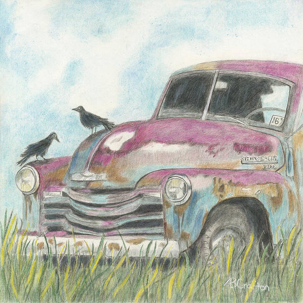 Old Chevy Truck Drawing - Rust In Peace by Arlene Crafton
