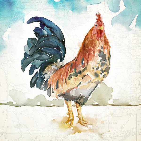 Chicken Painting - Rust Rooster by Mauro DeVereaux