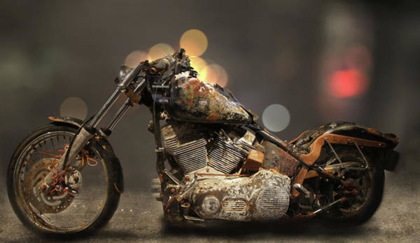 Milwaukee Art Museum Photograph - Rusted Harley-davidson Motorcycle by Art Spectrum