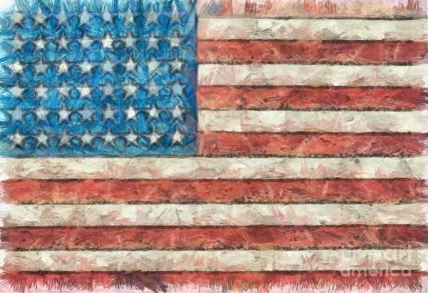 Wall Art - Digital Art - Rustic American Flag by Edward Fielding