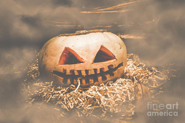 Wall Art - Photograph - Rustic Barn Pumpkin Head In Horror Fog by Jorgo Photography - Wall Art Gallery