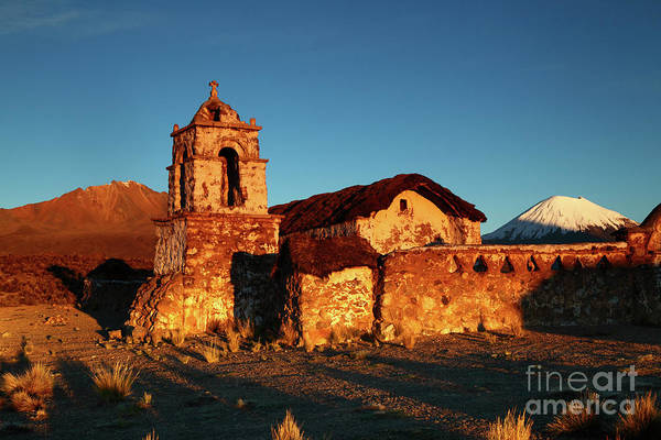 Photograph - Rustic Belfry At Sunrise Sajama National Park Bolivia by James Brunker