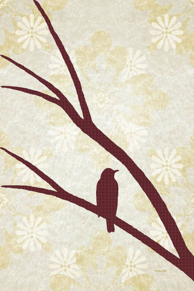 Mixed Media - Rustic Bird Art Maroon Bird Silhouette by Christina Rollo