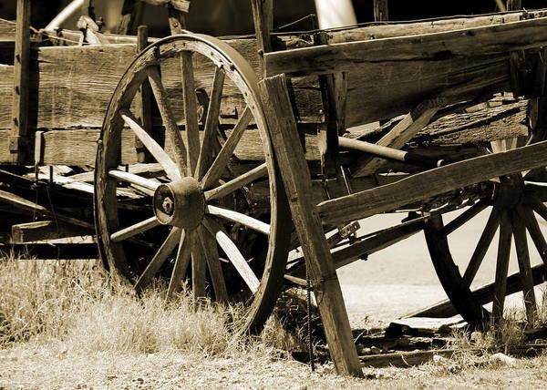Photograph - Rustic Broken Wood Cart In Sepia by Colleen Cornelius