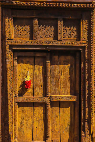 Wall Art - Photograph - Rustic Brown Door With Chillies by Garry Gay
