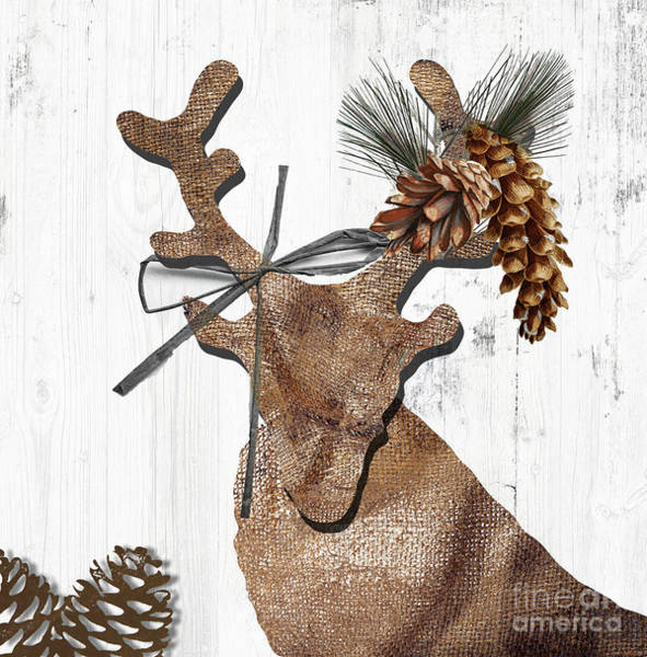 Wall Art - Painting - Rustic Winter Deer by Mindy Sommers
