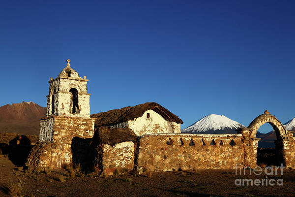 Photograph - Rustic Church Belltower Sajama National Park Bolivia by James Brunker