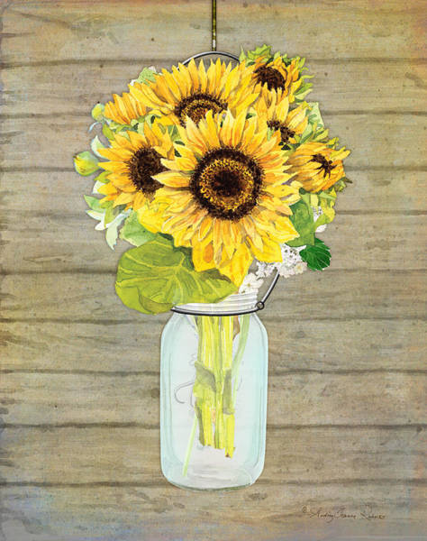 Wall Art - Painting - Rustic Country Sunflowers In Mason Jar by Audrey Jeanne Roberts