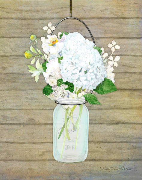Wall Art - Painting - Rustic Country White Hydrangea N Matillija Poppy Mason Jar Bouquet On Wooden Fence by Audrey Jeanne Roberts
