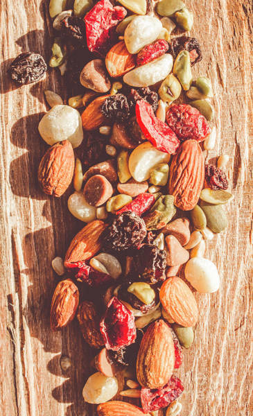 Sunflower Seeds Photograph - Rustic Dried Fruit And Nut Mix by Jorgo Photography - Wall Art Gallery
