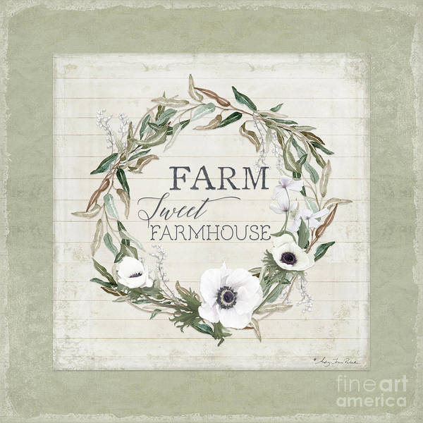 Painting - Rustic Farm Sweet Farmhouse Shiplap Wood Boho Eucalyptus Wreath N Anemone Floral by Audrey Jeanne Roberts