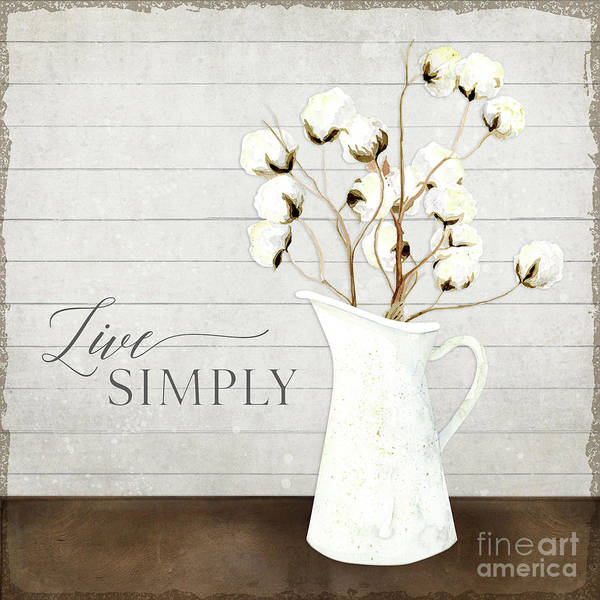 Cotton Painting - Rustic Farmhouse Cotton Boll Milk Pitcher Live Simply by Audrey Jeanne Roberts