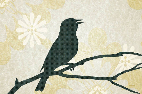 Woodland Animals Mixed Media - Rustic Green Bird Silhouette by Christina Rollo