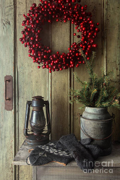 Photograph - Rustic Holiday Scene With Lamp On Bench With Wreath by Sandra Cunningham