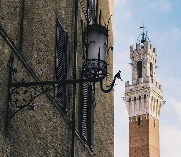 Photograph - Rustic Lamp And Tower In Siena, Italy by Alexandre Rotenberg