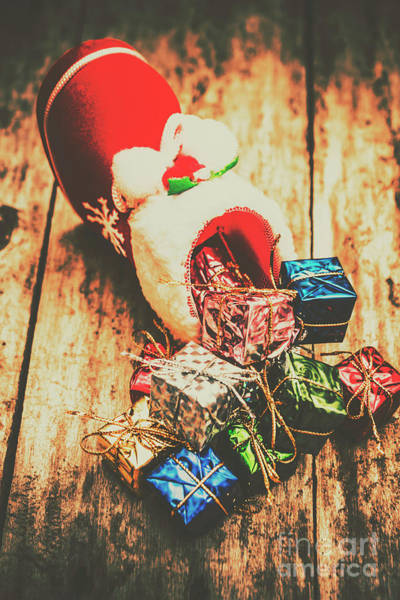 Decorating Photograph - Rustic Red Xmas Stocking by Jorgo Photography - Wall Art Gallery