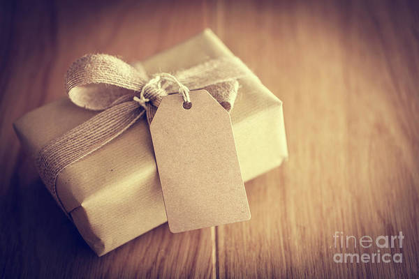 Light Box Photograph - Rustic Retro Gift, Present Box With Tag. Christmas Time, Eco Paper Wrap. by Michal Bednarek