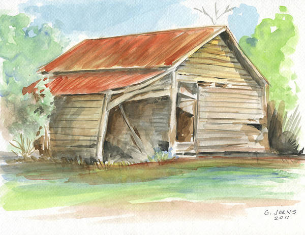 Tin Roof Wall Art - Painting - Rustic Southern Barn by Greg Joens