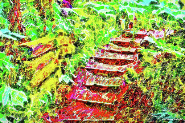 Digital Art - Rustic Step Path Through The Woods - Tamalpais California by Joel Bruce Wallach
