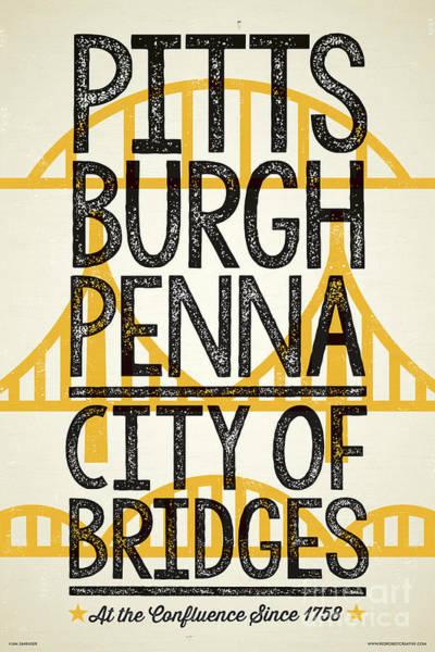 Americana Digital Art - Rustic Style Pittsburgh Poster by Jim Zahniser