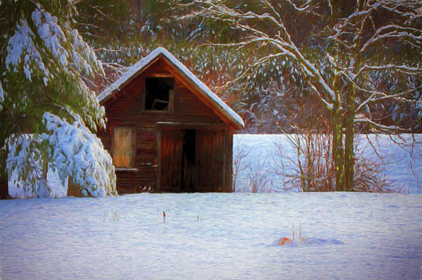 Photograph - rustic Vermont shack in snow by Jeff Folger