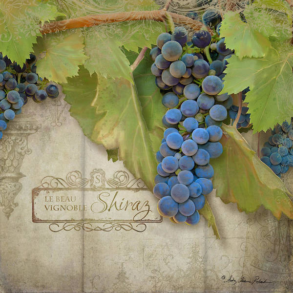 Wall Art - Painting - Rustic Vineyard - Shiraz Wine Grapes Over Stone by Audrey Jeanne Roberts