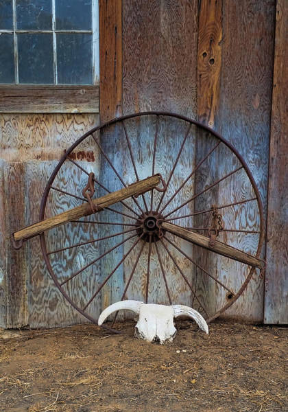 Photograph - Rustic Wagon Wheel by Pamela Walton