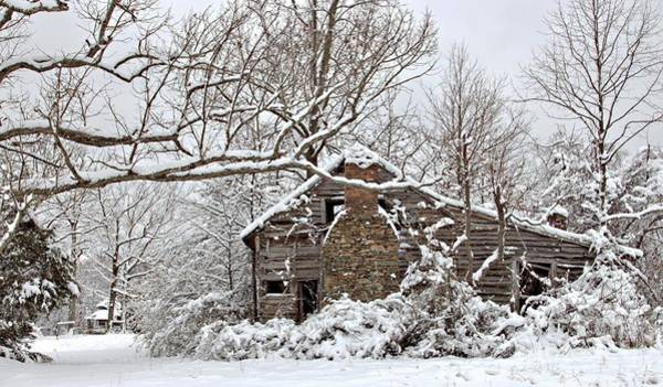 Cabin In The Woods Wall Art - Photograph - Rustic Winter Cabin by Benanne Stiens