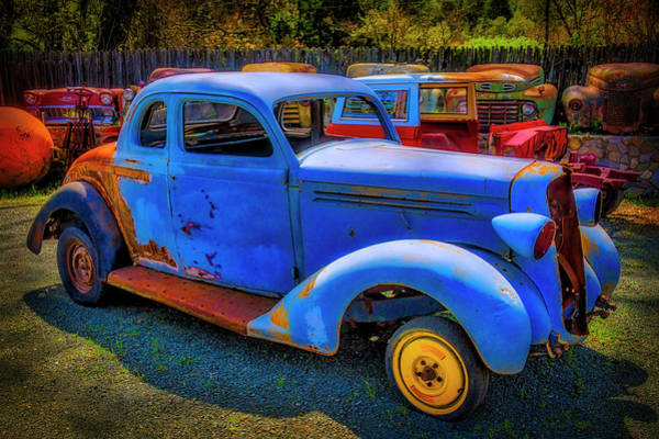 Wall Art - Photograph - Rusting Blue Car by Garry Gay