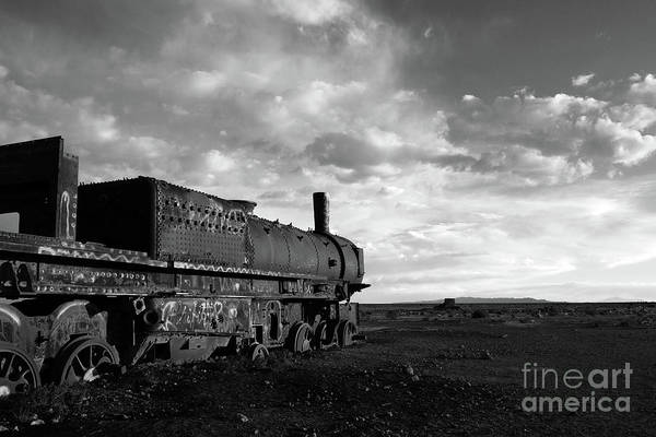 Photograph - Rusting Old Steam Locomotive In Black And White by James Brunker