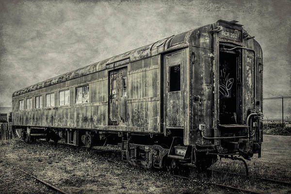 Railroad Car Photograph - Rusting Passenger Car Ft Bragg by Garry Gay
