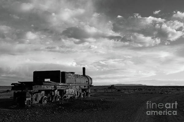 Photograph - Rusting Steam Engine In Black And White by James Brunker